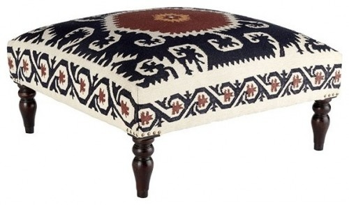 Wooden Dhurrie Upholstered Ottoman mediterranean ottomans and cubes