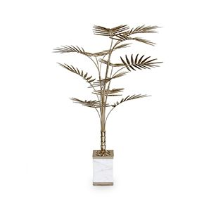 Ivete is a floor lamp shaped as a palm tree, produced in a square carrara marble base and gold plated brass. Its design makes this lighting fixture the perfect decorative piece for an exotic environment, which can be used as a palm tree table lamp as well. Make your home decor groovy and stylish.