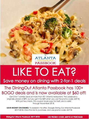 Use PROMO CODE JMIT18 to get free meals at Atlanta restaurants, Atlanta dining, deals to Atlanta restaurants, bogo meal deals, food coupons, meal coupons, meal deals, dining deals