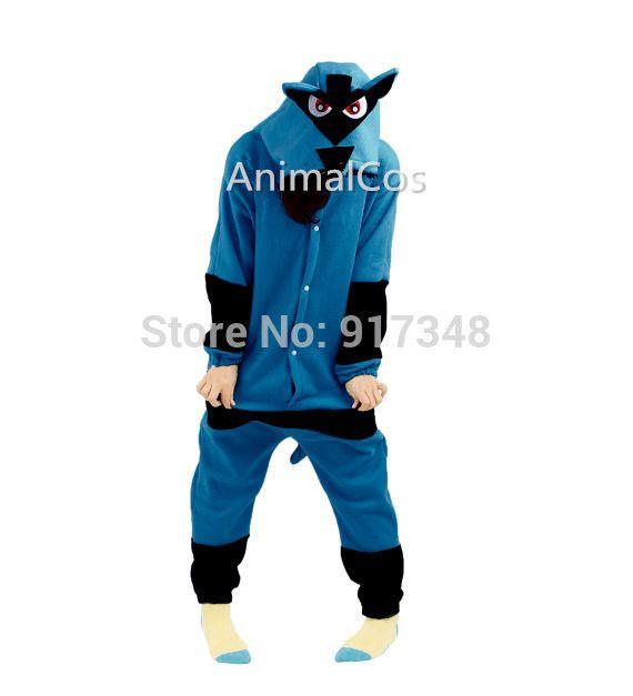 Novelty Cartoon Anime Character  Pokemon Lucario Costume Adult Onesie Women Men's Pajamas Halloween Christmas Party Costumes