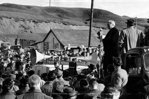 Aneurin Bevan addresses a crowd just outside Tredegar in 1960