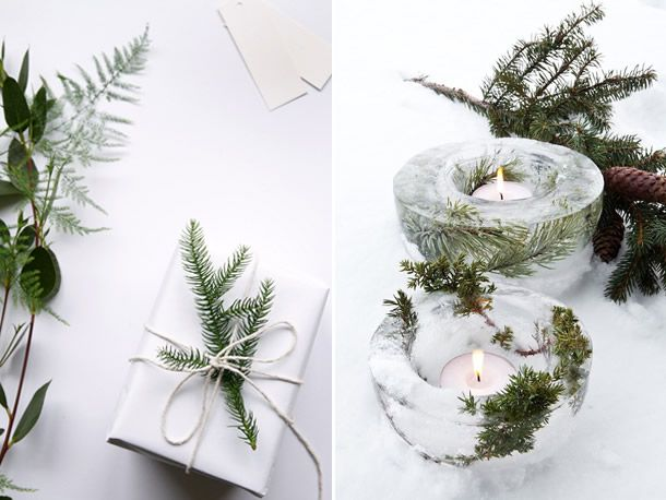 ideias de natal nórdico e rústico com ramos e folhagens de pinheiro.