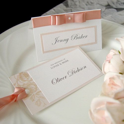 Romantic pink rose wedding name card place card escort for Name place cards wedding