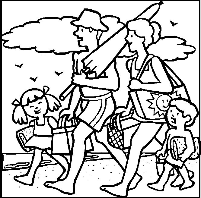 together with family summer vacation coloring picture for kids - Coloring Pages Summer Vacation