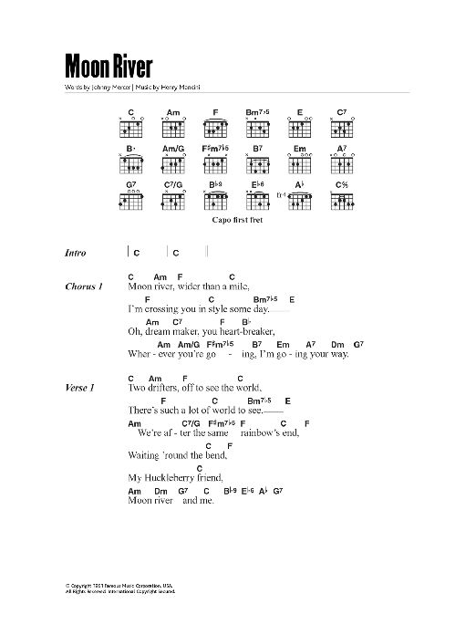 Moon River by Andy Williams - Guitar Chords/Lyrics - Guitar Instructor