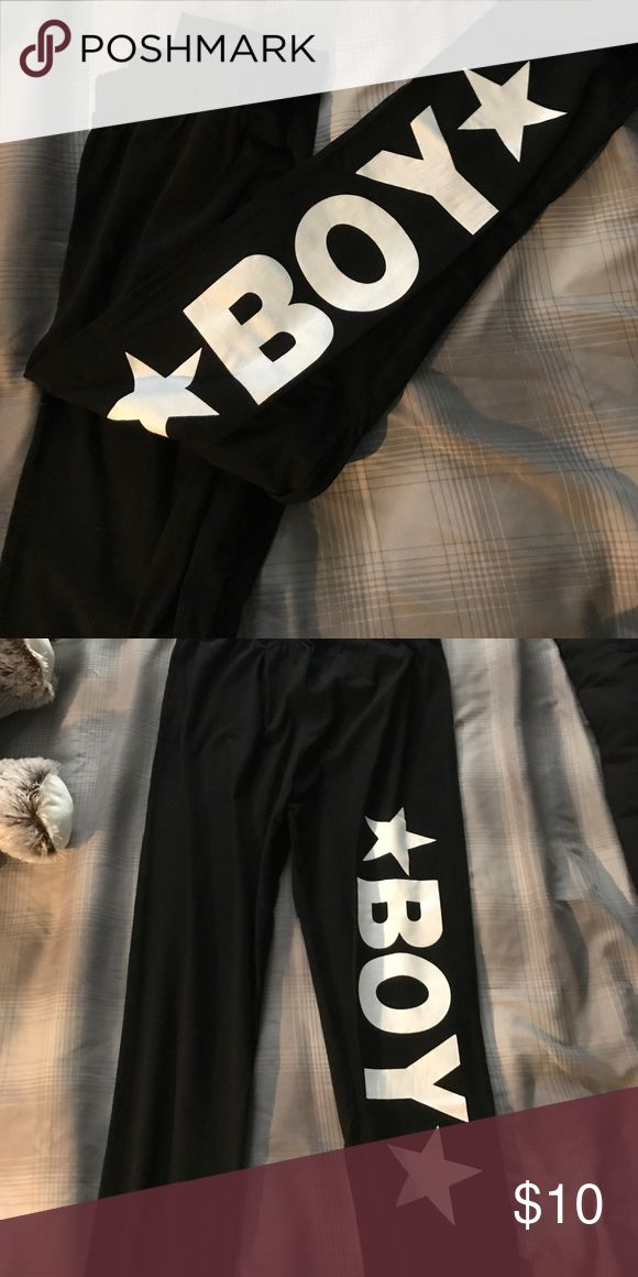 Boy London black leggings (Small) Black stretchy leggings with the Boy London logo going down the left leg. These don't have tags but are brand new. No holes, stretches, or marks otherwise. Junior size small. Boy London Pants Leggings