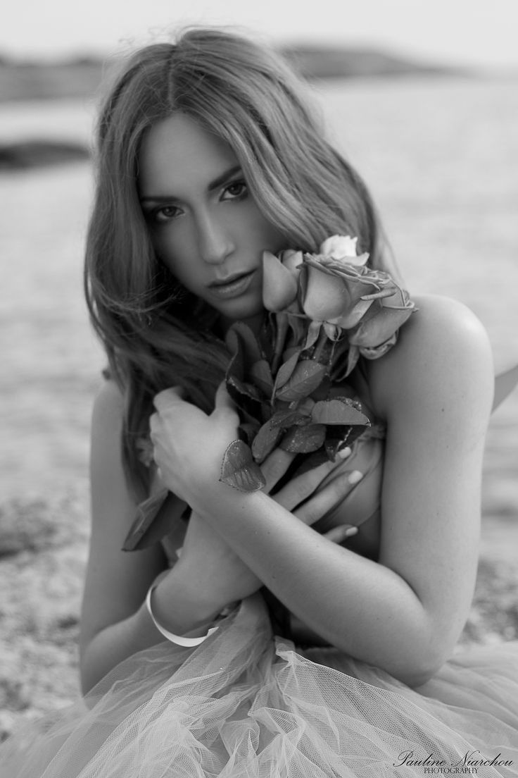 Katerina by Pauline Niarchou #model #photography #bnw #blackandwhite #roses #flowers #woman #lady #girl #hair #face #portrait #portraiture #greece #athens