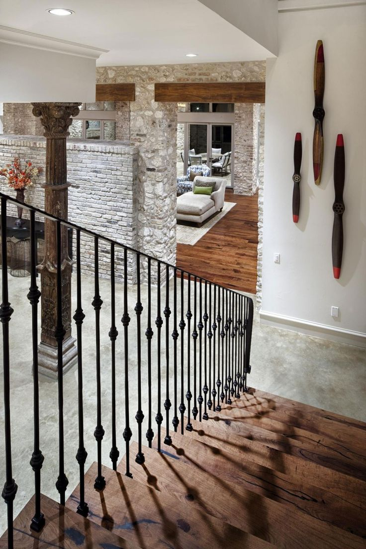 Rustic Texas Home With Modern Design and Luxury Accents - My favorite elements: light colored rock, wood, and wrought iron