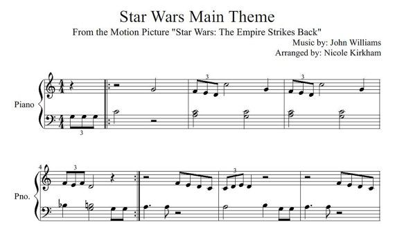 Beginner Sheet Music For Star Wars Main Theme This Is A Pdf