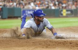 Aug 5, 2017; Houston, TX, USA; Toronto Blue Jays center fielder Kevin Pillar (11) reaches home to score a run during the seventh inning against the Houston Astros at Minute Maid Park. Mandatory Credit: Troy Taormina-USA TODAY Sports