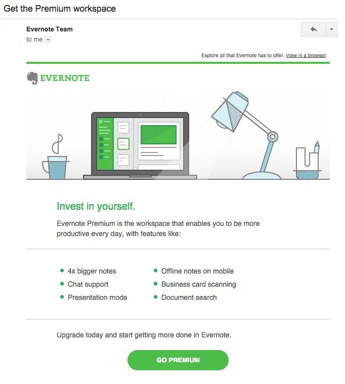 Evernote - onboarding email series