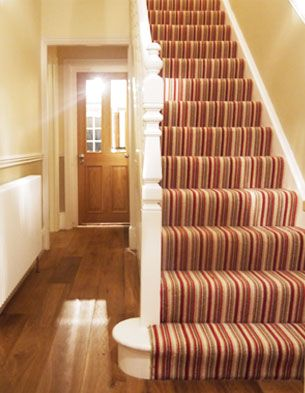 stripy stair carpet, don't like those colors but def like stripy stair carpet idea