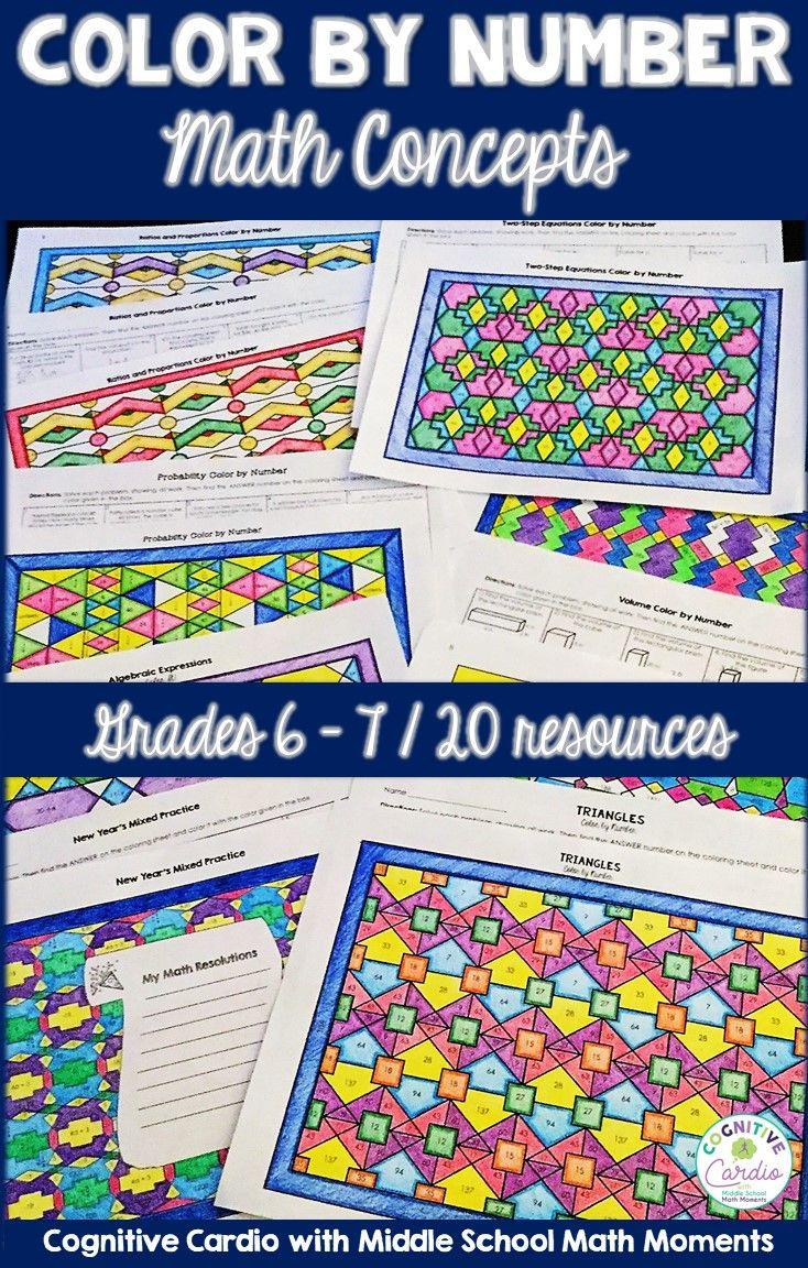 Math Color by Number Bundle (#2) - Grades 6-7 | Coloring Fun | Pinterest