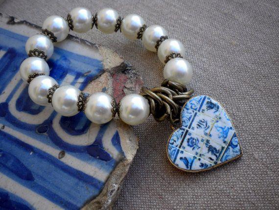 Lisbon Portugal Delft Blue Antique Tile Replica Heart Bracelet with pearls  (see photos of actual facades)