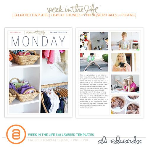Week In The Life 6x8 Layered Templates by Ali Edwards #craftthestory #weekinthelife