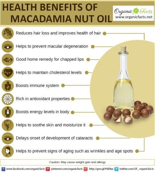 Macadamia oil (or macadamia nut oil) is the non-volatile oil expressed from the nut meat of the macadamia (Macadamia integrifolia) tree, a native Australian nut. Macadamia oil is sometimes used in food as a frying or salad oil, and in cosmetic formulations as an emollient or fragrance fixative.