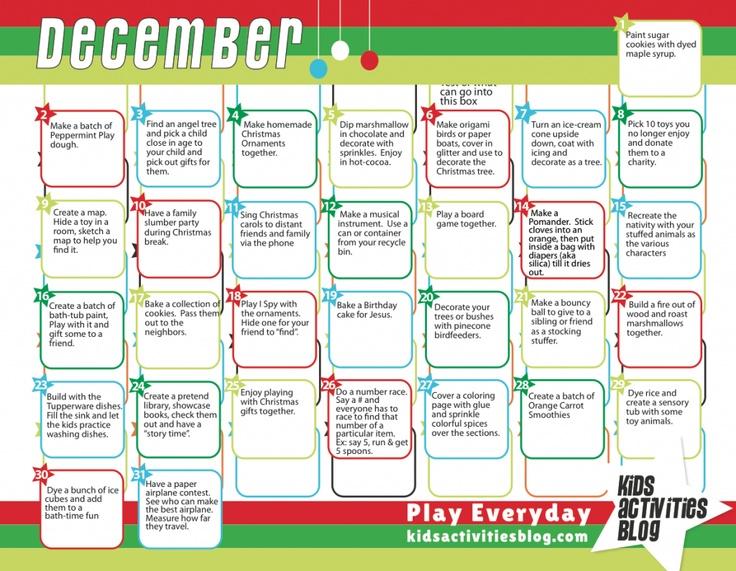 December Kids Calendar : Images about month activities on pinterest