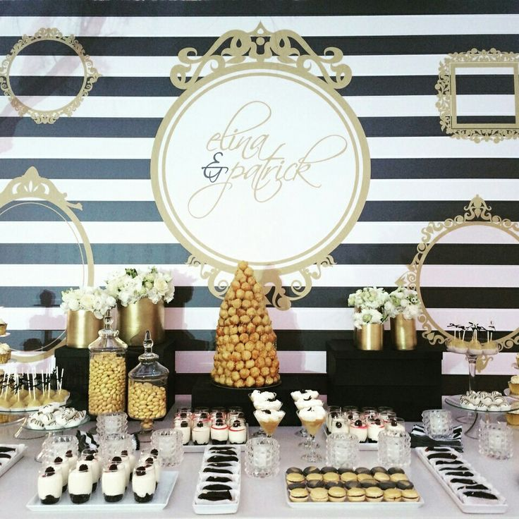 Black and white dessert table with gold details www.rpsevents.gr