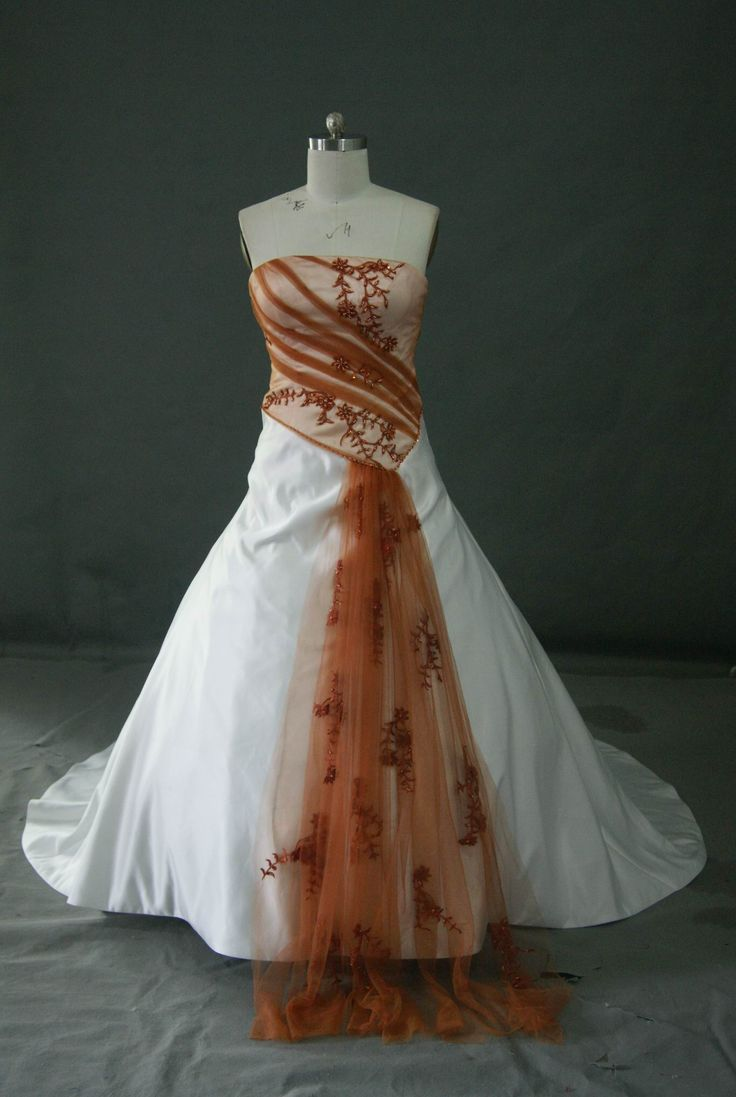 Wedding dresses with a touch of color drawn to bridal for Pink and orange wedding dresses