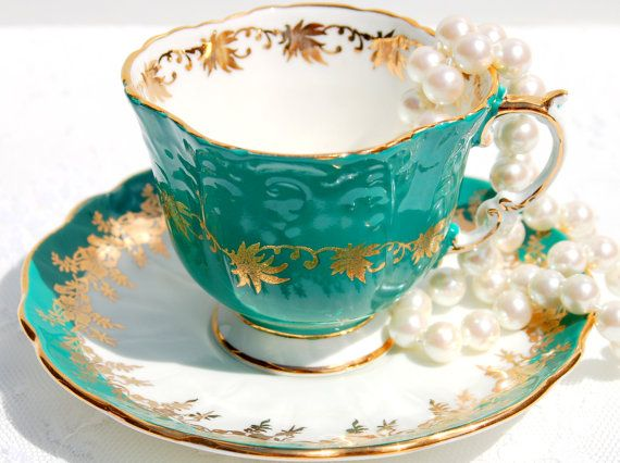Antique Aynsley Tea cup and Saucer English Fine by EcoIdeology