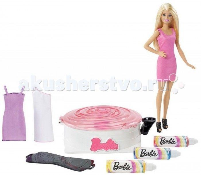 Barbie Игровой набор для создания цветных нарядов с куклой Барби  Игровой набор для создания цветных нарядов с куклой Барби – это именно то, что нужно маленькой моднице.   Для того, чтобы создать свой дизайн платья, девочка сможет воспользоваться манекеном.   Надев одно из трех платьев набора на манекен и закрепив его в центрифуге для окрашивания, необходимо закрыть крышку.  Далее, встряхнув одну из красок набора (желтую, синюю или розовую), нужно нажать на рычаг центрифуги, чтобы платье…