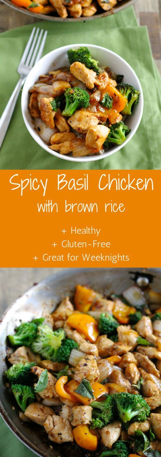 Insanely Delicious Spicy Basil Chicken with Brown Rice l It's healthy, gluten-free, and easy enough to make on a weeknight! The whole family will love this dish. l http://www.littlechefbigappetite.com