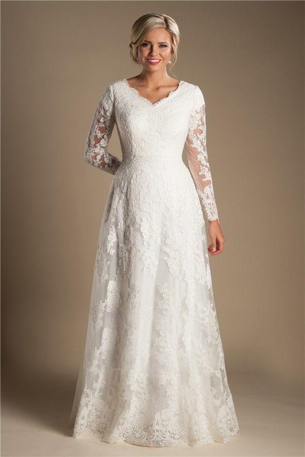 Modest A Line V Neck Long Sleeve Ivory Lace Wedding Dress