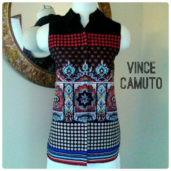 VINCE CAMUTO Black Button-Down Sleeveless Top Vince Camuto Tribal Print Button Down Collar Top; breathe new life into your wardrobe with the fresh look of the Vince C tribal shirt! Hey so sophisticated blouse fabricated from a polyester blend in a relaxed silhouette. DISCOUNT BUNDLES AND FREE GIFT WITH EVERY PURCHASE! Vince Camuto Tops Button Down Shirts