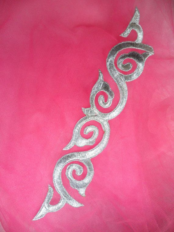 GB114 Silver Metallic Applique Iron On Patch 9.25 by gloryshouse