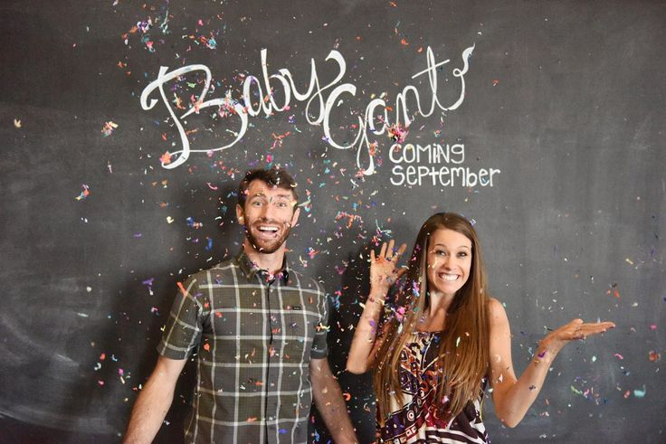 Pregnancy Announcement with chalkboard and confetti