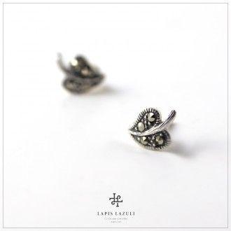 Marcasite Leaf Earring