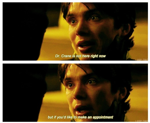Dr. Crane, Batman Begins. This part breaks my heart. Just the little crack of the voice