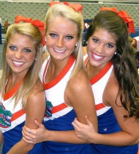 Go Gators! Morgan Palmer and Tarin Moses on the right end. Favorite Gator cheerleaders!!!!!