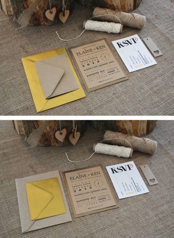 Kraft Wedding Invitation / Rustic Wedding by adrimdesign on Etsy, €5.30