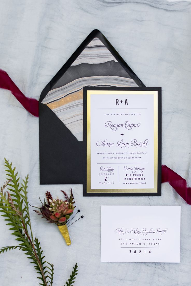 Todayu0027s Forecast: Heavy Flower Petal Showers On The Beaches Of Bali.  Organic And Black And Gold Wedding Invitations