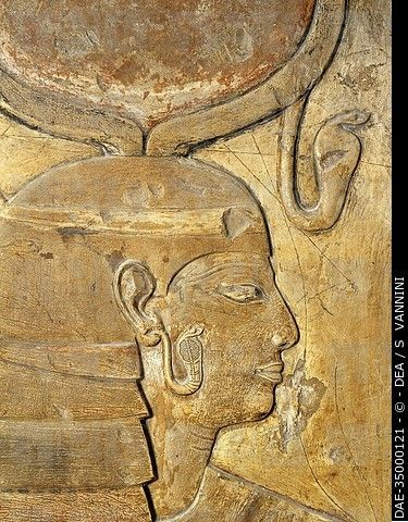 Egypt, Thebes (UNESCO World Heritage List, 1979) - Luxor. Valley of the Kings. Tomb of Seti I. Corridor. Relief. Isis (Dynasty 19, Seti I, 1304-1290 B...