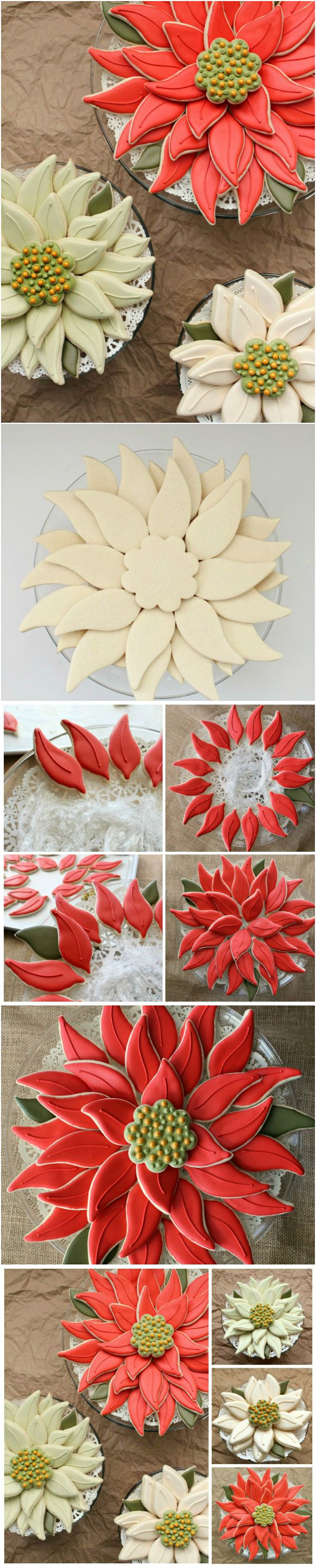 Christmas ● Tutorial ● Easy Poinsettia Cookie Platter. This cookie platter is beautiful!