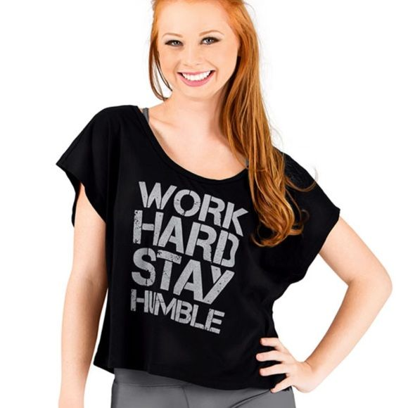 Cropped tee! Work Hard Stay Humble cropped tee! Runs a little big! Excellent condition and never been worn! Tops Crop Tops