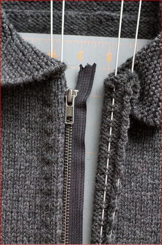 Как вшить молнию в вязаную кофту. Способ второй