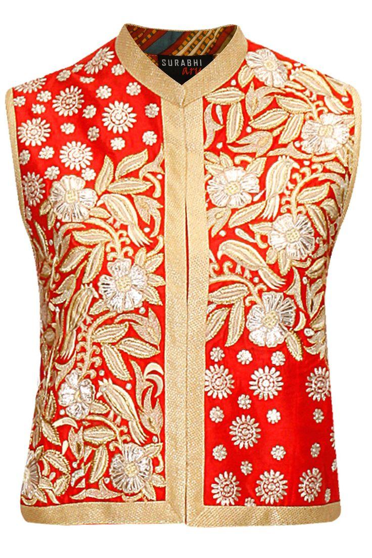 Red miraj small bird jacket by Surabhi Arya. Shop at: http://www.perniaspopupshop.com/designers/surabhi-arya #jacket #surabhiarya #shopnow #perniaspopupshop