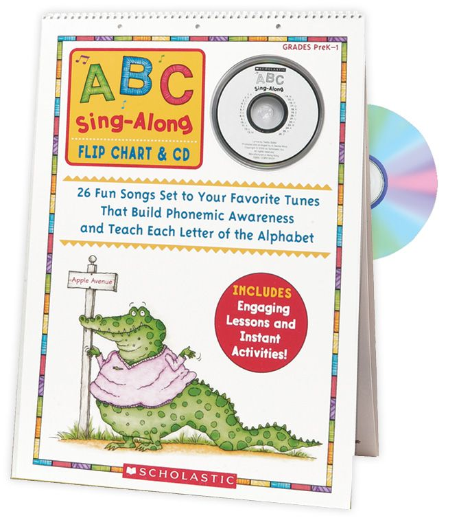 Students will love learning the alphabet with this big, laminated flip-chart featuring an easy to learn song for each letter of the alphabet! Find the bestselling ABC Sing-Along Flip Chart & CD in the Classroom Essentials Catalogue: OPUS 1484625 Page 111 See the pages here: http://scholastic.ca/clubs/cec/
