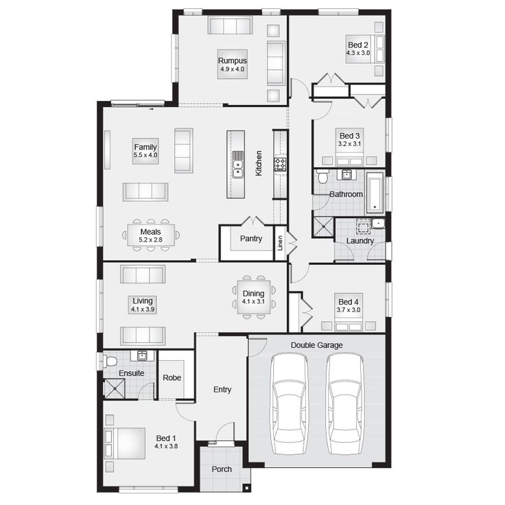 Killara 28    Floor plan - 260.20sqm, 13.10m width,  21.50m depth    Clarendon Homes Floor Plans