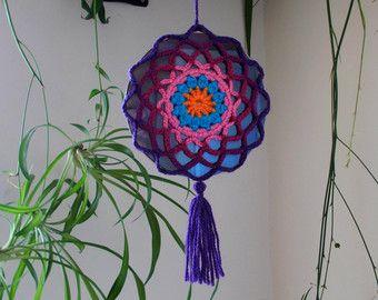 Crochet el Mandala Suncatcher  doble cara sol Catcher móvil