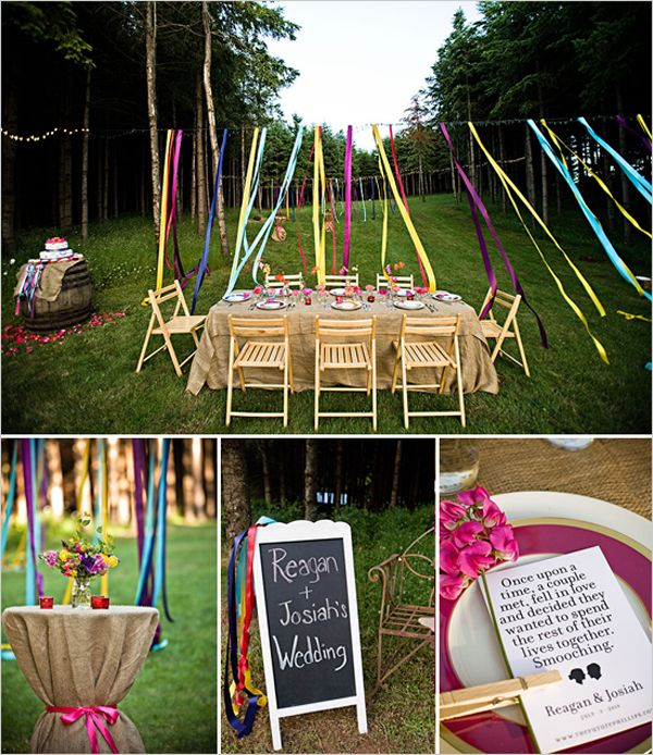Could Be An Outdoor Baby Shower Love The Burlap Over The Cocktail Table