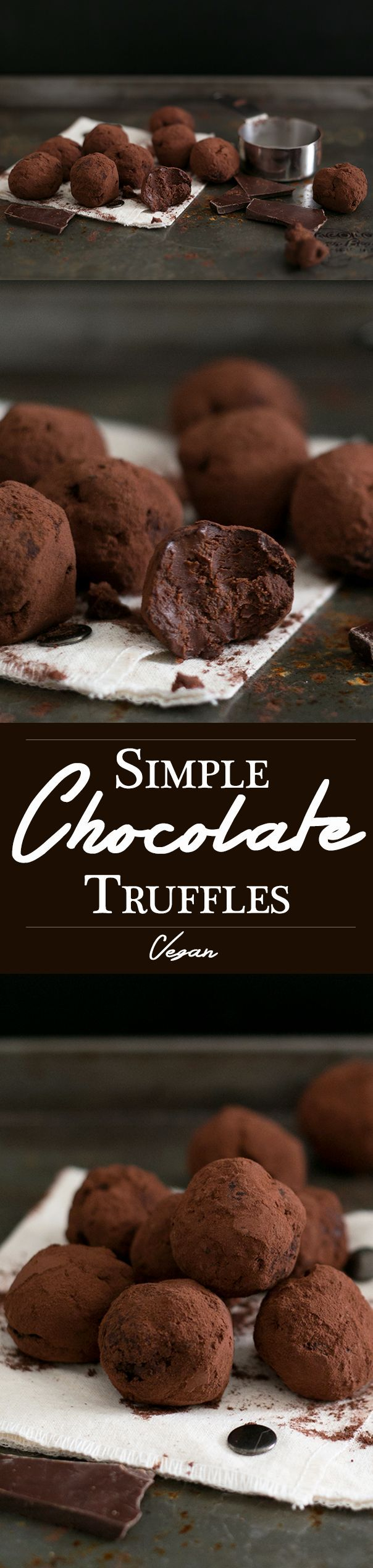 Vegan Chocolate Truffles made with Dark Chocolate, Coconut Cream, Maple Syrup Sea Salt, Espresso and Vanilla Bean.