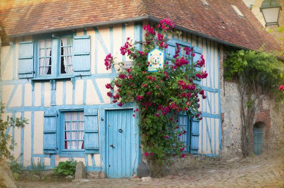 French Country Photo - French Country Decor - La Maison Bleue - blue cottage in France with roses on Etsy, $30.00
