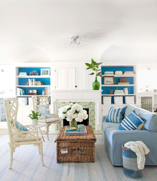 House of Turquoise: The Glamorous Housewife Bethany Herwegh: Bookshelves, White Living, Decor Ideas, Beaches House, Living Rooms Design, Blue, Color, Coastal Style, Coastal Living