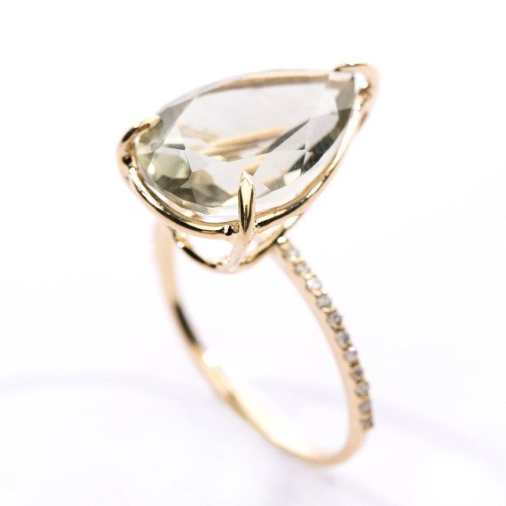 Pear Cut Green Amethyst Diamond Pave Ring by OhmyChristine on Etsy