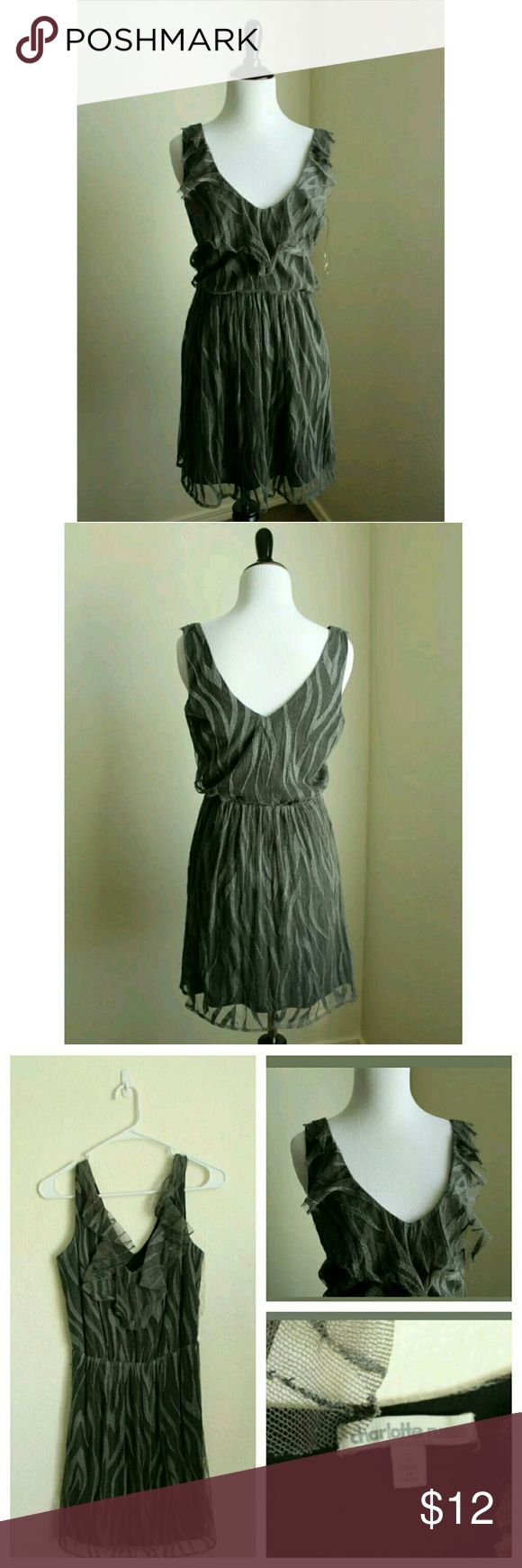 """Charlotte russe dress small black gray net mesh term details & description:  Black and gray, net fabric, fit and flare, sleeveless   Approximate Measurements in inches:   Armpit to armpit : 18"""" Shoulder to hem: 36"""" Sleeve : Charlotte Russe Dresses Midi"""