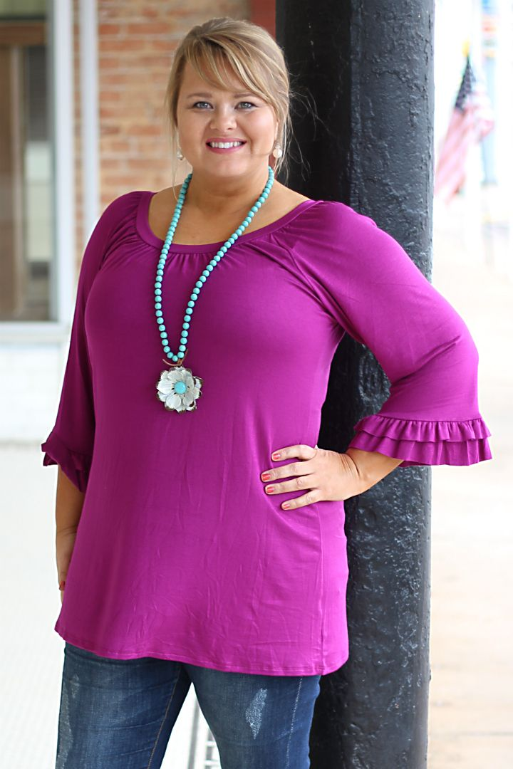 One Faith Boutique - Magenta Scoop Neck Ruffle Sleeve Top ~ Size 12-18, $29.00 (http://www.onefaithboutique.com/new-arrivals/magenta-scoop-neck-ruffle-sleeve-top-size-12-18/)